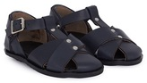 Marni Navy Leather Cross Over Sandals