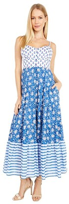 J.Crew Copacabana Dress in Block Print (Blue Multi Combo) Women's Dress