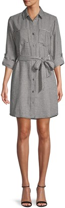 Velvet Heart Anita Belted Houndstooth Shirtdress