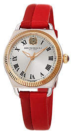 Bruno Magli Lucia 31mm Watch w/ Fluted Bezel & Leather Strap, Two-Tone Red