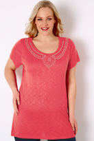 Yours Clothing Coral Pink Textured Jersey Top With Jewel Embellishment