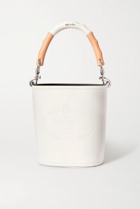 Prada Embossed Leather Bucket Bag - White