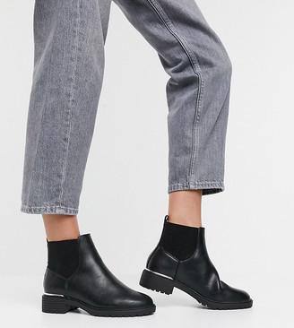 New Look Wide Fit metal detail chelsea boot in black