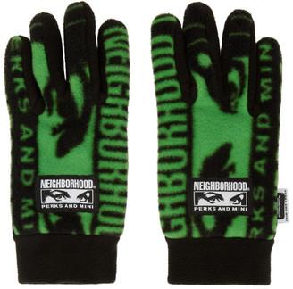 Perks And Mini Black and Green Neighborhood Edition Fleece Gloves