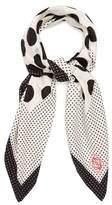 Loewe Contrast-panel polka-dot silk scarf