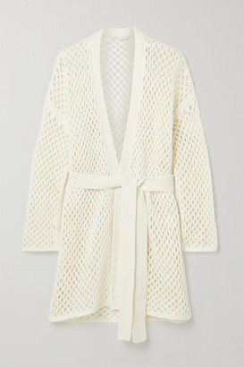 Agnona Belted Open-knit Cardigan - White