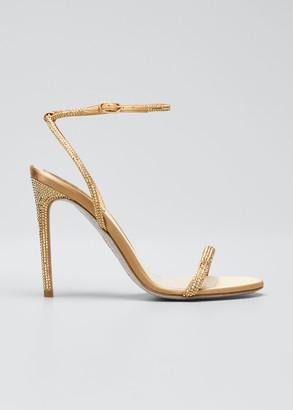 Rene Caovilla Crystal-Embellished Satin Ankle-Strap Sandals