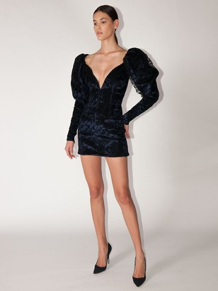 LaQuan Smith Puffy Sleeves Crushed Velvet Mini Dress