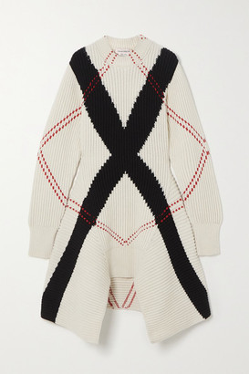 Alexander McQueen Asymmetric Argyle Ribbed Wool And Cashmere-blend Dress - White