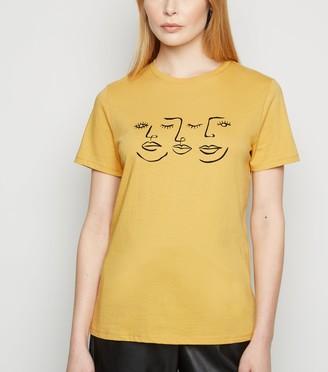New Look Sketch Face Print T-Shirt