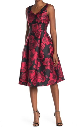 Tahari Floral V-Neck Fit & Flare Dress