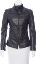 Bottega Veneta Grain Leather Mock Neck Jacket