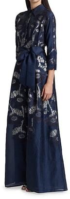 Teri Jon by Rickie Freeman Metallic Jacquard Floral Shirt Gown