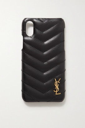 Saint Laurent Embellished Quilted Leather Iphone X And Xs Case - Black