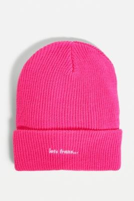 Iets Frans... iets frans. Pink Waffle Ribbed Beanie - Pink ALL at Urban Outfitters