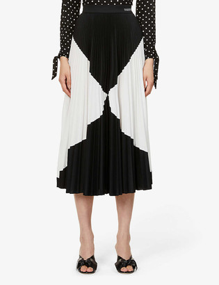 Valentino Geometric-print pleated high-waist crepe midi skirt