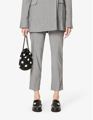 Ganni Tapered mid-rise woven trousers