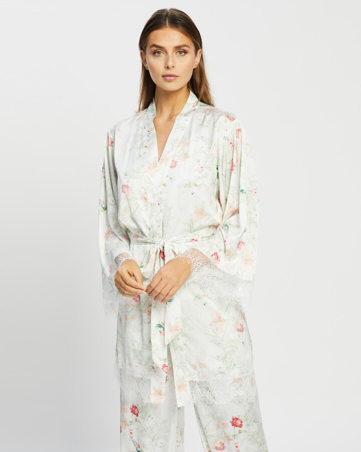Thumbnail for your product : Atmos & Here Atmos&Here - Women's White Gowns - Amelia Satin Lace Trim Robe - Size 10 at The Iconic