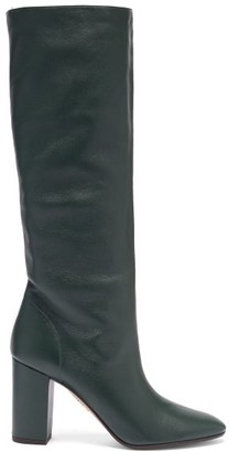 Aquazzura Boogie 85 Block-heel Leather Boots - Dark Green