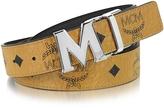 MCM Color Visetos Cognac/Black Coated Canvas Reversible Belt