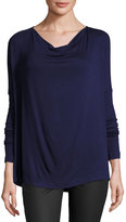 Three Dots Cowl-Neck Jersey Tunic, Evening Blue