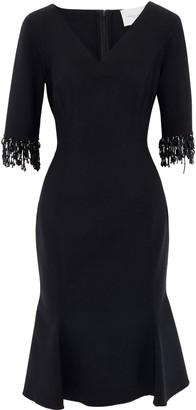 Carolina Herrera Fluted Bead-embellished Stretch-wool Crepe Dress