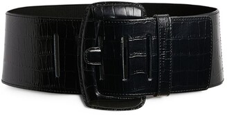 Max & Co. Croc-Embossed Leather Belt