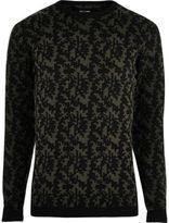 River Island Mens Black abstract print jumper