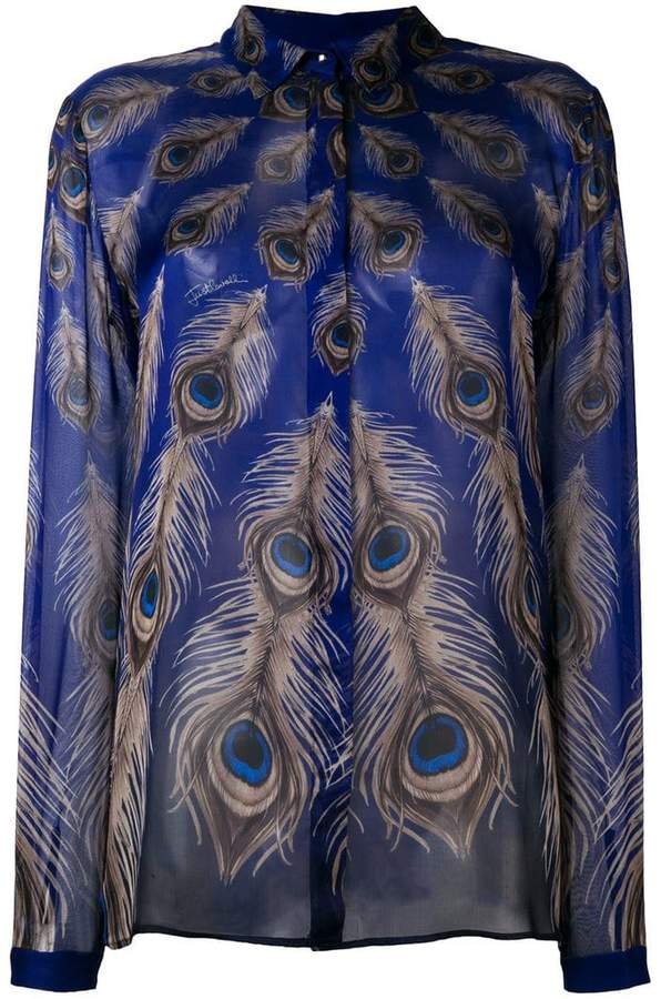 Just Cavalli peacock feather print shirt