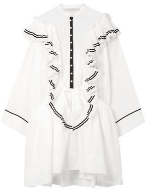 Philosophy di Lorenzo Serafini Ruffled Cotton-voile And Point D'esprit Mini Dress