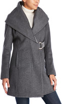 French Connection Wool-Blend D-Ring Wrap Coat