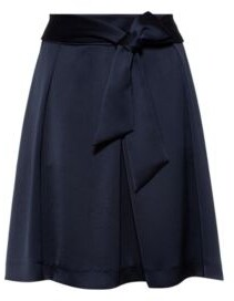 HUGO A-line skirt in hammered satin crepe with tie belt