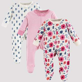 N. Touched By Nature Touched by Nature Baby Girls' 3pk Garden Floral Organic Cotton Sleep N' Play - /White