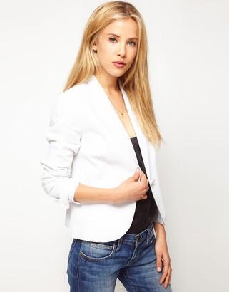 Asos Design Linen Workwear Blazer-White