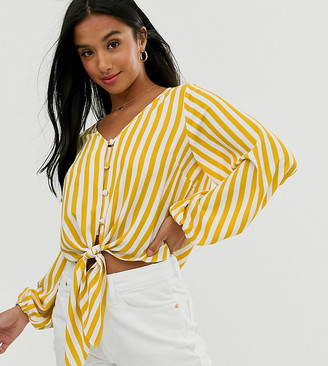Asos DESIGN Petite long sleeve button front top with tie detail in stripe-Multi