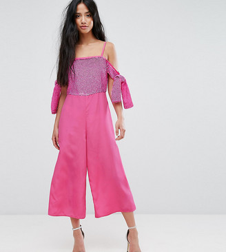 Asos Embellished Cold Shoulder Jumpsuit-Pink