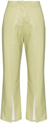 MATÉRIEL Cropped Faux Leather Flared Trousers