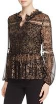 Elie Tahari Coraline Lace-Detail Silk Blouse