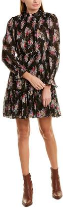 Rebecca Taylor Bouquet Smocked Silk-Blend A-Line Dress
