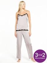 Very Satin Lace Trim Cami Pyjama Set