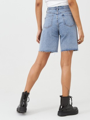 Missguided Longline High Waisted Denim Shorts - Blue