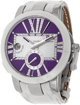 Ulysse Nardin Executive Dual Time Purple Dial Diamond White Leather Ladies Watch 243-10-30-07