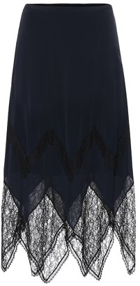 See by Chloe Lace-trimmed crepe midi skirt