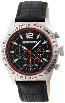 Breed Silver & Black Griffin Chronograph Leather-Strap Watch