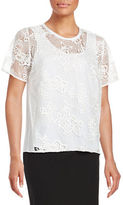 T Tahari Marley Lace-Accented Top