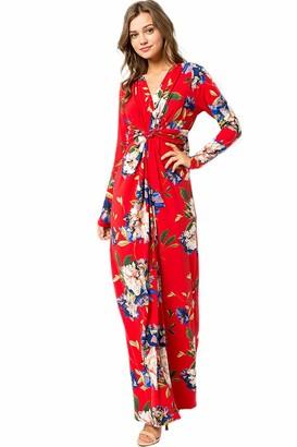 XIANGCHEN Women's Deep V-Neck Casual Dress Summer Floral Print Maxi Dress for Beach Party (Black M)
