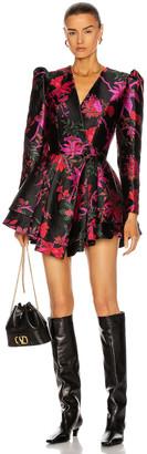 MARKARIAN Etta Brocade Mini Dress in Black Floral Brocade | FWRD