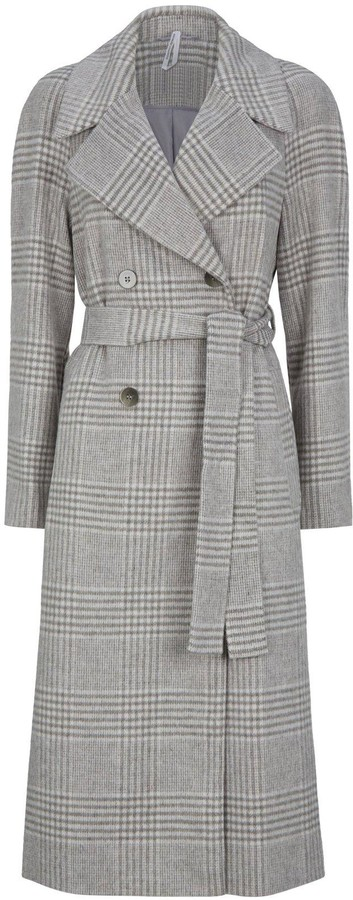 Thumbnail for your product : Dorothy Perkins Double Breasted Check Maxi Wrap Coat - Grey