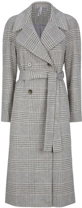 Dorothy Perkins Double Breasted Check Maxi Wrap Coat - Grey