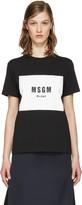 MSGM Black Colorblock Logo T-Shirt